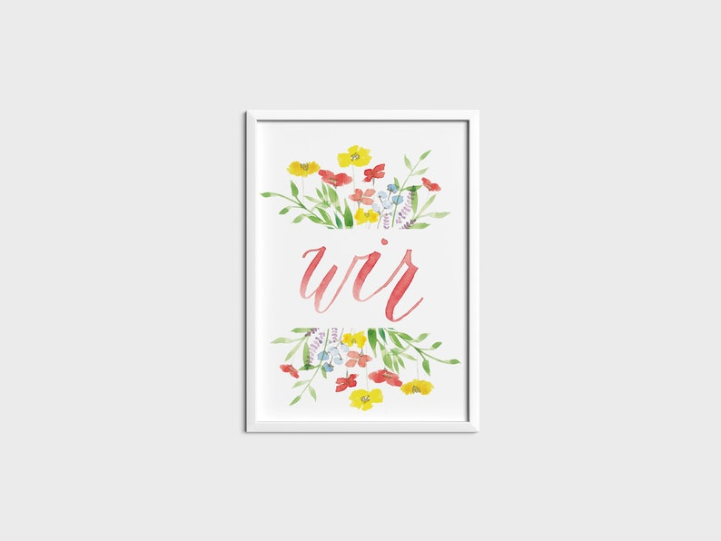 Personalized Poster Floral Watercolor A4 image 0