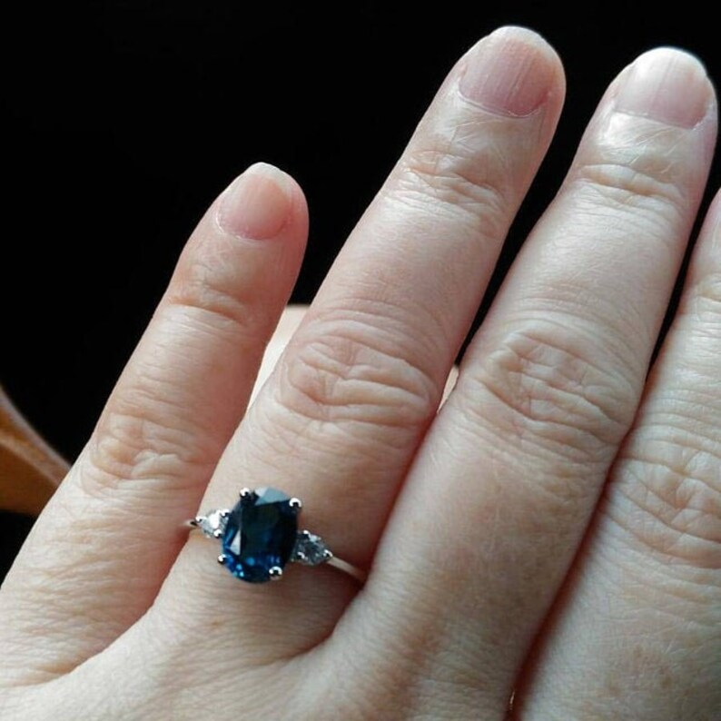 Promise Ring Blue Topaz Ring Oval Gemstone Ring Sterling Silver