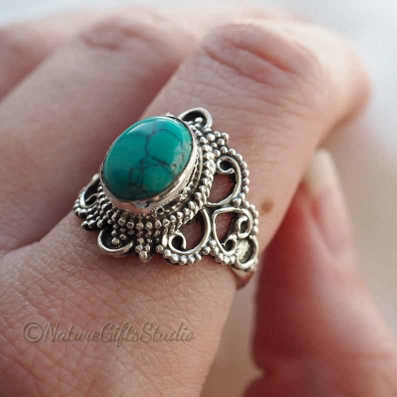 Woman/'s Jewelry Silver Ring Bohemian Ring Handmade Ring Anniversary Gift Jewelry Turquoise Gemstone Designer Ring