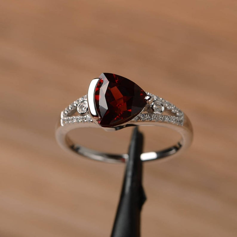 Natural Garnet Ring Promise Engagement Ring Triangle Cut Sterling Silver Ring Red Gemstone January Birthstone Ring New Year Gift Jewelry