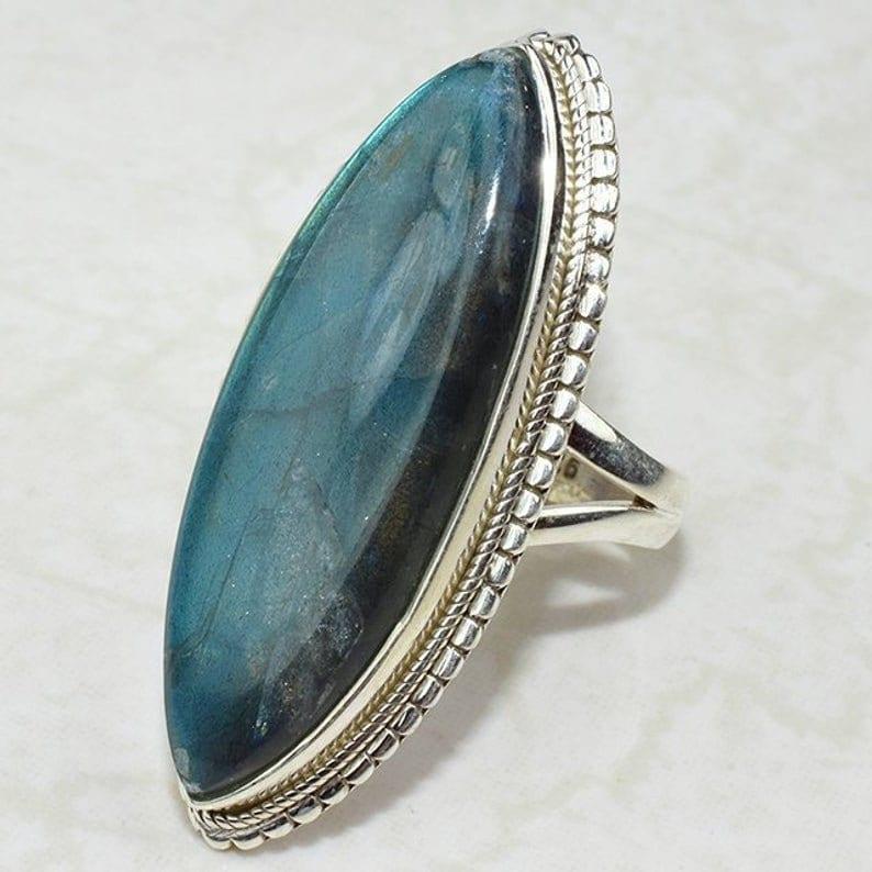 Stylish Statement Ring Bohemian Ring Heavy Ring Marquise Shape Gemstone Ring Labradorite Ring Wedding Jewelry