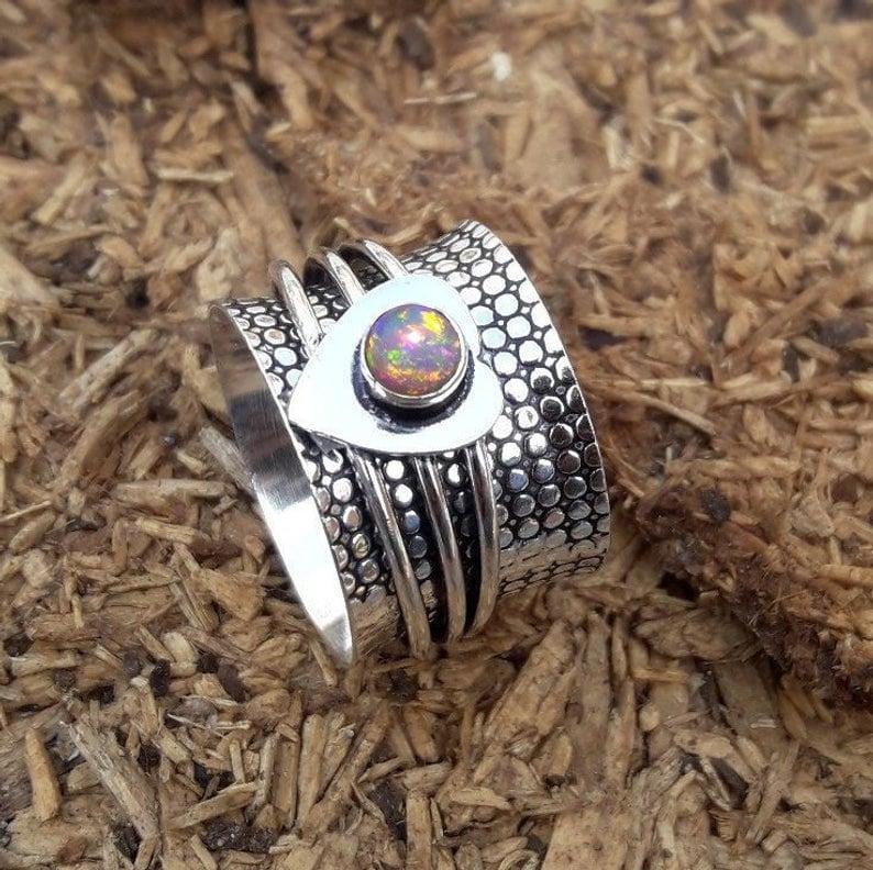 Ethiopian Opal Ring Spinner Ring Silver Jewelry Heart Design Thumb Ring *Beaded Ring Meditation Fidget Ring *Gift For Birthday Ring