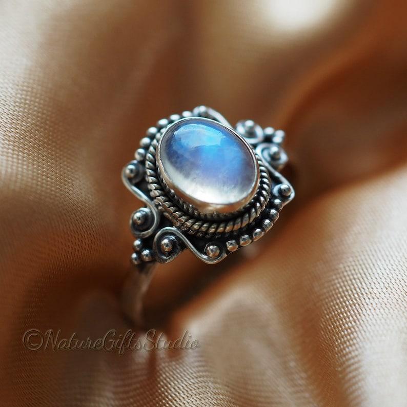 Bohemian Ring Statement Ring Rainbow Moonstone Natural Gemstone Ring Beaded Ring Woman/'s Wedding Jewelry