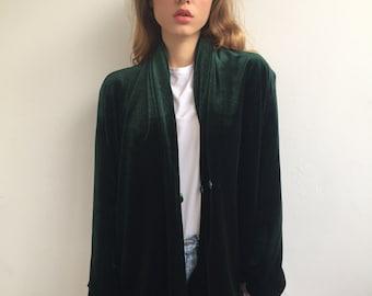119cdd5bfc06b0 VELVET GREEN BLAZER Super Chic Mango Zara Hm Size S/M