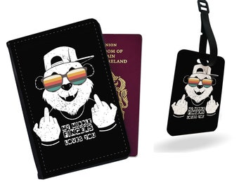 Tropical Passport Holder Luggage Tag Travel Set Panda Passport Cover Summer Bag Tag Leaves Travel Wallet Best Gift Document Holder CL6315