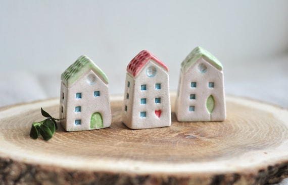 Set Of Three Ceramic Houses Cute Sculpture Pottery Etsy