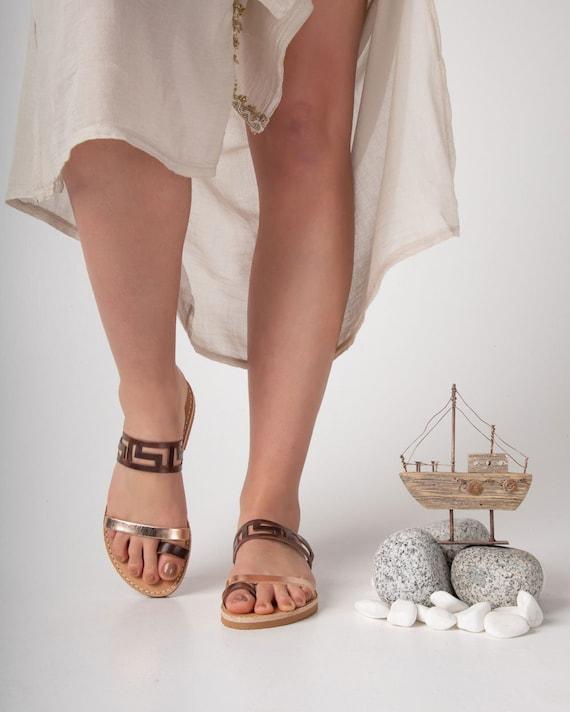 Toe ring meander sandals, Greek women strappy sandals, spartan rings, sandalias tiras mujer , sandales grecques femme