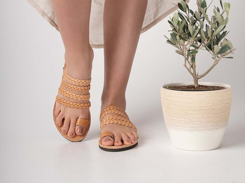 flat braided sandals Srappy toe ring sandals natural tan leather boho sandals Greek genuine handmade leather