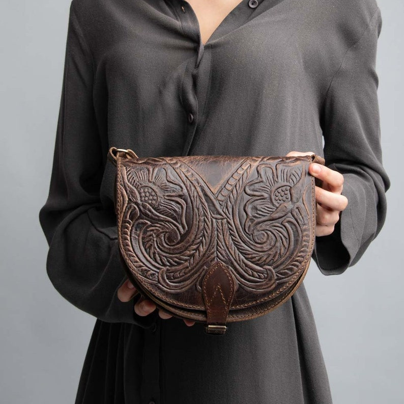 Leather crossbody bag pyrography rustic saddle leather bag Brown tooled