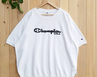 e8f3ce3199db Vintage CHAMPION USA Products Embroidery Logo Since 1919 Sweatshirt  Pullover Crewneck Jumper White / Black Color Size 4Large