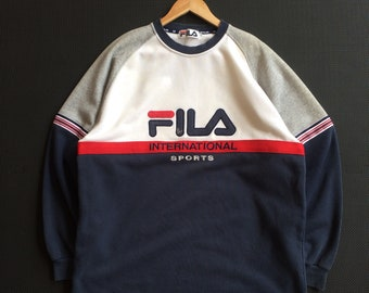 f706471d6c1 Vintage Early 90s Embroidery Fila International Sports Logo Crewneck  Sweatshirt Pullover Jumper White   Blue   Red Colour Size Extra Large