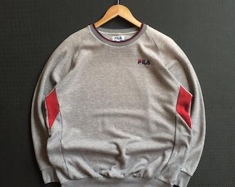 60f67e53e70 Vintage Fila Embroidery Small Classic Logo Crewneck Sweatshirt Jumper  Pullover Red   Grey Size Medium