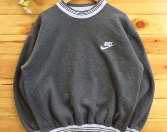 506cab6ced4e93 Vintage 90s Nike Embroidery Swoosh Ringer Crewneck Sweatshirt Jumper  Pullover Grey   White Color Size Large Made In USA