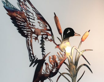 Solo Mallard Hunting Scene Northwoods Metal Wall Art