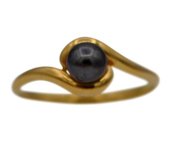 TAHITIAN PEARL RING Pearl engagement ring Black pe