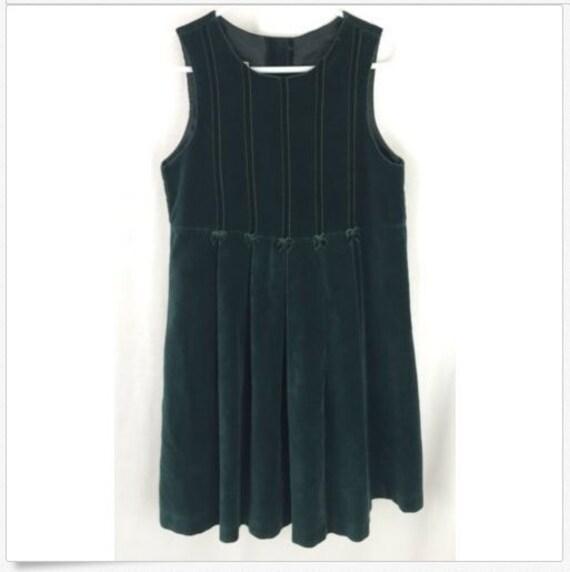 Vtg Girls Sz 5 St Patricks Day Dress Green Velvet