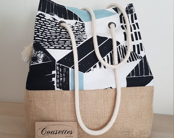Unique creation bag in burlap and cotton, French and artisanal. Cousettes by Audrey.