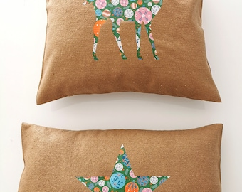 Silk Christmas cushion covers. French and artisanal manufacture. Quilts by Audrey.