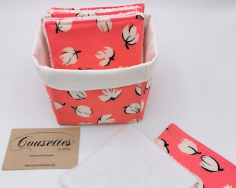 Washable make-up remover wipes and its storage bag, zero waste, French and artisanal manufacture. Cousettes by Audrey.
