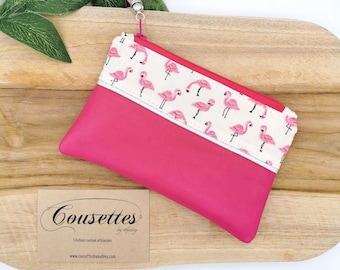 Coin holder, fuchsia pink leather card holder and cotton printed flowers, French and artisanal manufacture. Cousettes by Audrey