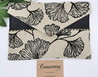 Unique creation pouch in imitation leather and jacquart, French and artisanal manufacture. Quilts by Audrey.