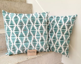 Velvet cushion cover ras 45x45 cm. French and artisanal manufacturing. Cousettes by Audrey.