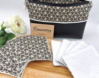Makeup bag and washable makeup remover wipes, zero waste, French and artisanal manufacture. Quilts by Audrey.
