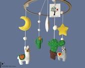 Llama cactus baby mobile, felt nursery mobile, crib mobile for newborn  / Babaforgó, kiságyforgó láma, kaktusz
