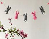 Garland with felt rabbits, Wall decoration, Rose bunny garland, Felt rabbit wall hanging, Nursery decor with rabbits, Rabbit garland