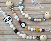 Pinguin, panda, fox Silicone Pacifier Clip for baby, Beaded Dummy clip with animals, Pacifier chain, Newborn gift, MAM pacifier adapter