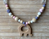 Stroller chain with elephant, wooden and silicone beads