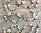 Silicone Pacifier Clip matching keychain for Baby and Mom, Future mom gift pacifier chain set, Wooden silicone beaded dummy clip