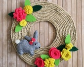Wreath with felt rabbit and flowers, Kids room decoration, Wall hanging, Front door wreath, Spring decoration with felt bunny