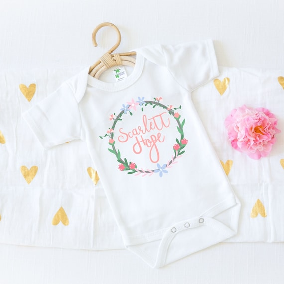 Boho Baby Clothes Baby Name Onesie® Baby Girl Clothes