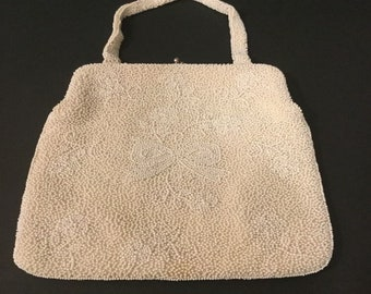 Beautiful Magid White Beaded Classic Handbag Japan 698251aa15