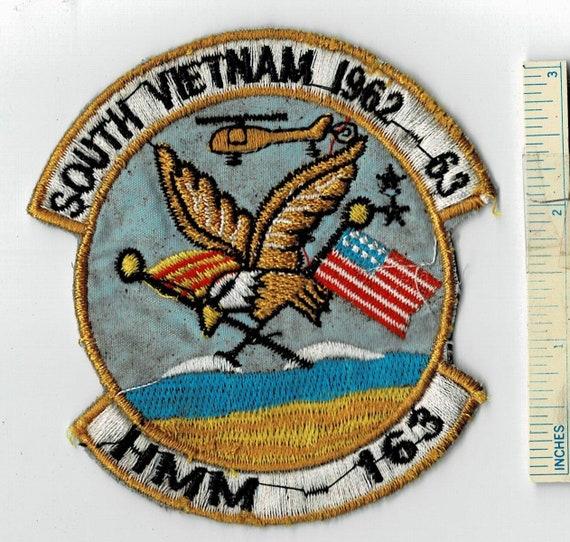 Vietnam War HMM-163 USMC Helicopter South 1962-63 Squadron US Marine Corps  Shoulder Patch Cloth Quilt Military Vintage Nam Div