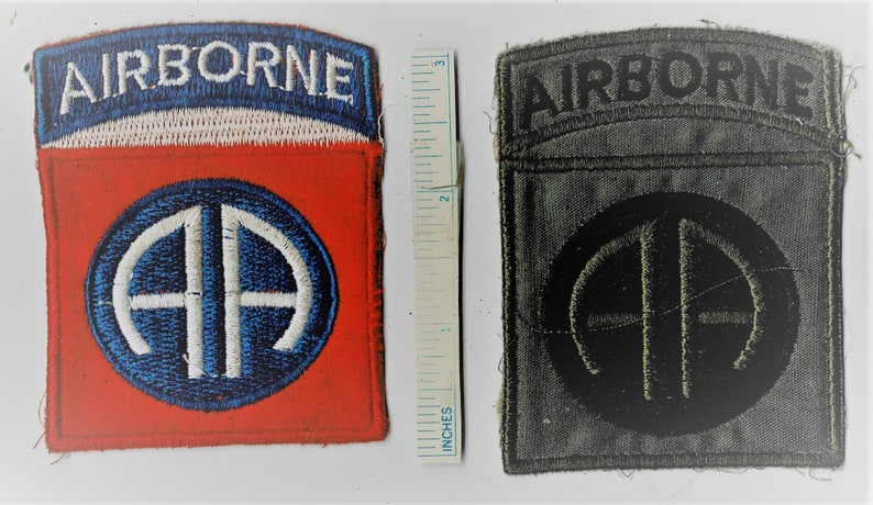 Lot of 2 Diff Vietnam War 82nd AIRBORNE Paratrooper Subdued US Army Usa Shoulder Patch Cloth Quilt Military Vintage Nam Div