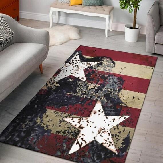 Stars Stripes American Flag Area Rug Floor Carpet Made To Etsy