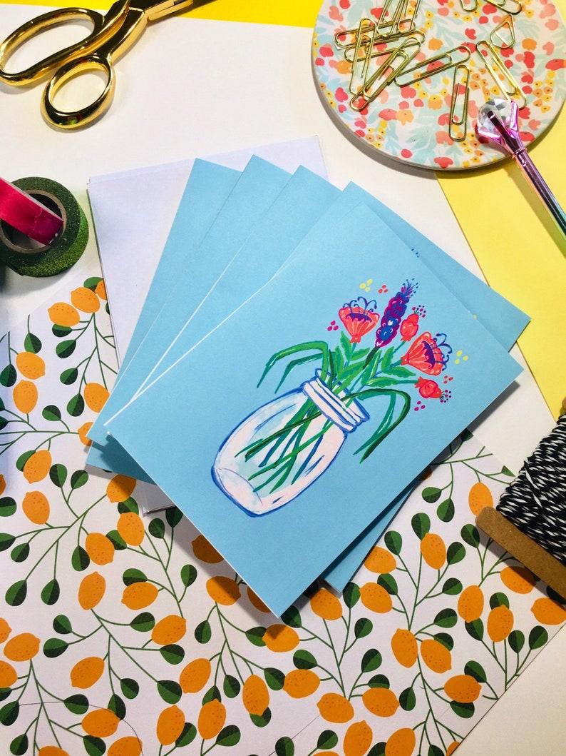 Jw gift card set 5 with envelopes|flower jar stationery set|gift for her|friendship card set