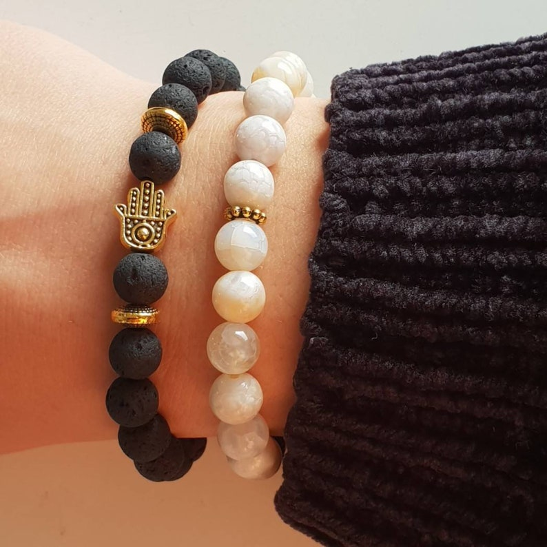 Fatma Lava Stone Pearl And Hand Protection Bracelet