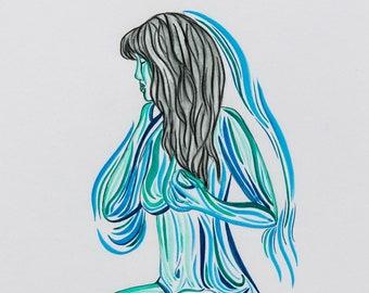Sensual Wall Art   Feminine Decor   Calming Art Print   Elegant Fine Art   Blue Woman Painting   Colorful Female Artwork  