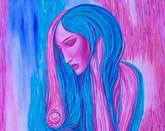 The Empath     Sensual Art Print   Colorful Nude Artwork   Sexy Feminine Decor   Calming Wall Art   Abstract Ladies Portrait  