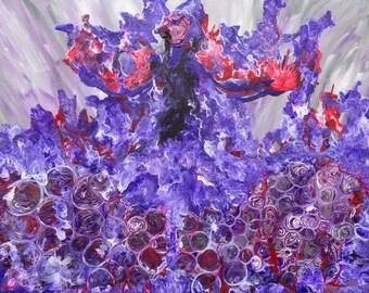Personal Power Art   Female Empowerment   Manifesting   Strong Female Decor   Purple Woman on Fire   Manifestation Art  