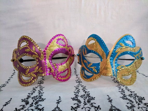Black and Gold Halloween Mask Set Couples Carnival Masks Hand-decorated Festival Mask Pair | His and Hers Masquerade Masks