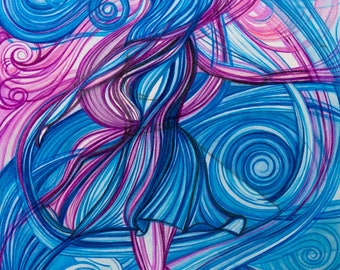 Flowing Dress   Whimsical Woman Art   Abstract Psychedelic    Beautiful Girl Twirling   Fun Unique Decor   Playful Art  