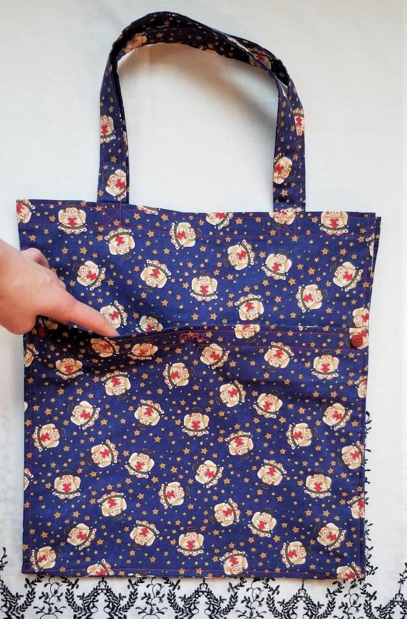 Lightweight Handbag Christmas Tote with Pockets Decorative Shopping Bag Blue Bag with Angels   Holiday Gift Bag