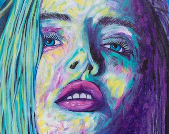 Colorful Girl Portrait   Emotional Art   Abstract Female Painting   Woman with Blue Eyes   Beautiful Look  