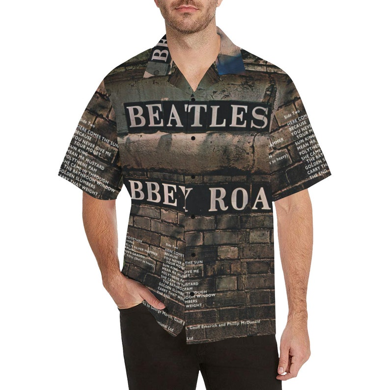 f5802e32f53 Beatles Abbey Road Vintage Mod 60s 70s Men's Retro Funky Psychedelic Groovy  Buttoned Down V-Neck Hippie Boho Tee Shirt