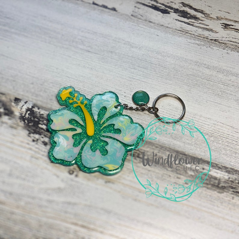 Hibiscus Keychain-Tropical Keychain-Perfect Gift-Fun Keychain-Bridesmaid Gift-Christmas Gift-Cute Keychain-