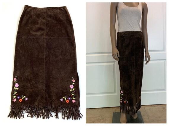 90s Fringed Suede Leather Skirt, Boho Fringed Skir